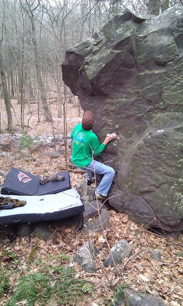 John K. climbing Hazy Warmup.