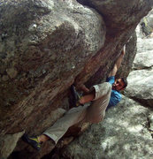 "Rock Climbing Photo: Trying to solve ""Castaway""."