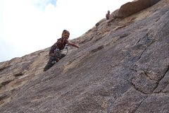 Rock Climbing Photo: Cooper Honeywell,(age 7) cleaning the pitch