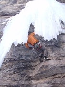 Rock Climbing Photo: Last bolt under the ice.