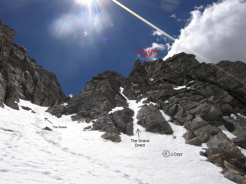 Rock Climbing Photo: The north wall of Mount Evans. The Snave and The S...