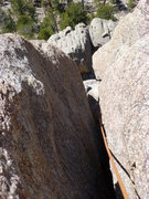 Rock Climbing Photo: Looking down from the middle of the third pitch.  ...