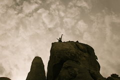 Rock Climbing Photo: Agina topped out on Umbilical Cord.