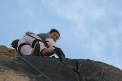 Rock Climbing Photo: Marta at the anchors for Umbilical Cord with a big...