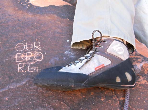 5.10 Grandstone shoe next to the Randal Grandstaff memorial on the Great Red Book.