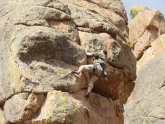 Rock Climbing Photo: A clos up of Gabe on the same new route at Devil's...