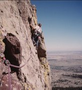 Rock Climbing Photo: On the 2nd pitch traverse.