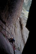 Rock Climbing Photo: Looking down on the belay from the roof at Tim Lom...