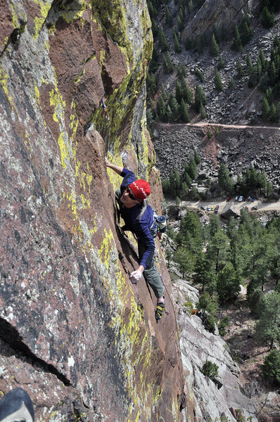 Rock Climbing Photo: Eldorado Canyon, Barrel of Monkeys, Wayne Crill Ge...