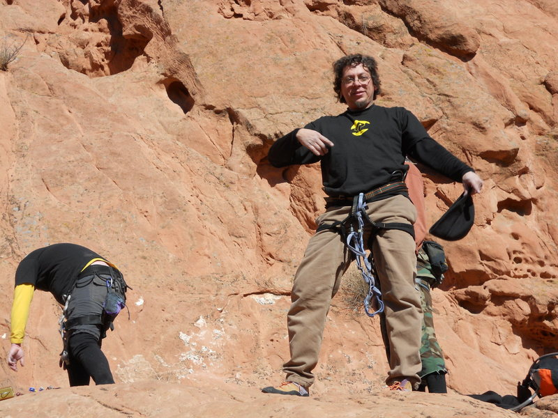 Tondo and me at the top of Cowboy Boot Crack, Garden Of The Gods, Colorado