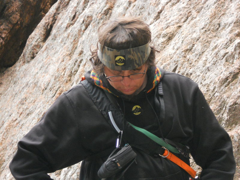 Tondo geting ready to lead the second pitch of Crack Parallel, Cheyenne Canyon Colorado