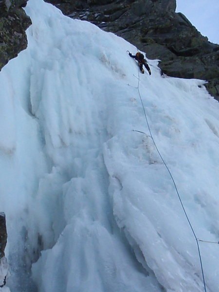 Pitch 1 of Pinnacle, water was rushing on the left side