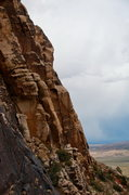 Rock Climbing Photo: Climbers on 1st pitch of Red Zinger. Shot from Beu...
