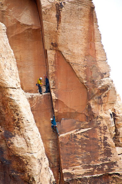Climbers at 1st belay ledge of Red Zinger. Shot from Beulah's Book. 4/9/2011