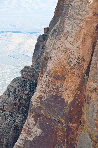 Climbers on Crimson Chrysalis. Shot on 4/10/2011 from Armatron.