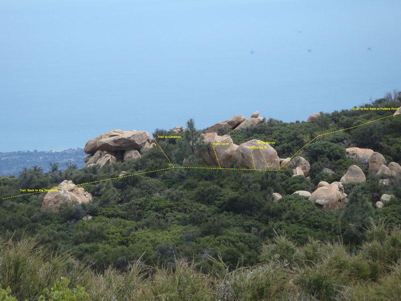 Rock Climbing Photo: Warm up Area Photo w/ trail to Caveman