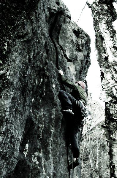 Rock Climbing Photo: Heavily edited photo of Bruce climbing.