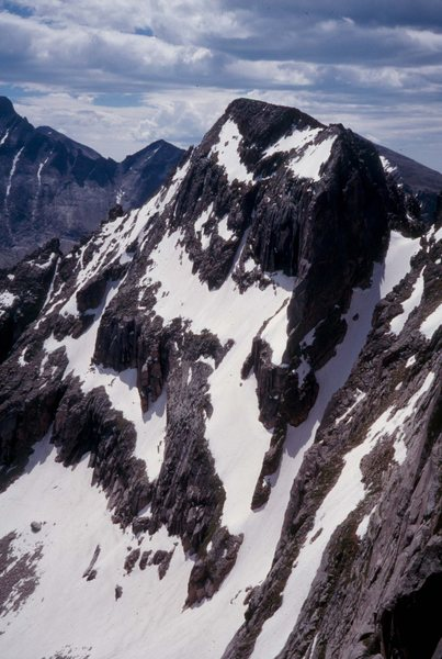 McHenry's Peak and the Notch Couloir, as viewed from the Powell-Thatchtop ridge.