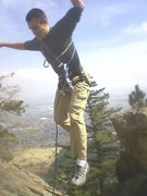 Rock Climbing Photo: Another blurry pic of the jump move.  Rob high ove...