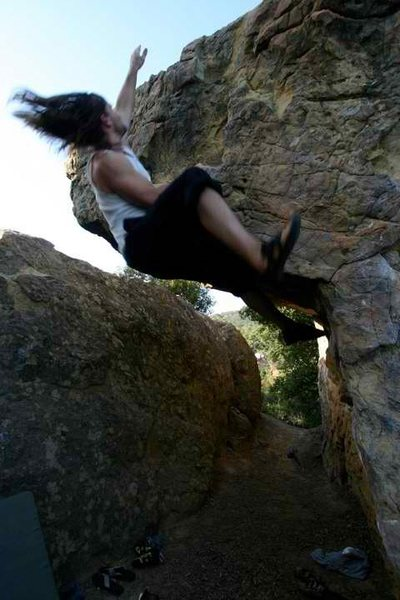 Rock Climbing Photo: The left variation is reachy.