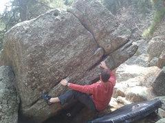 Rock Climbing Photo: Boulder we found just below cavewall