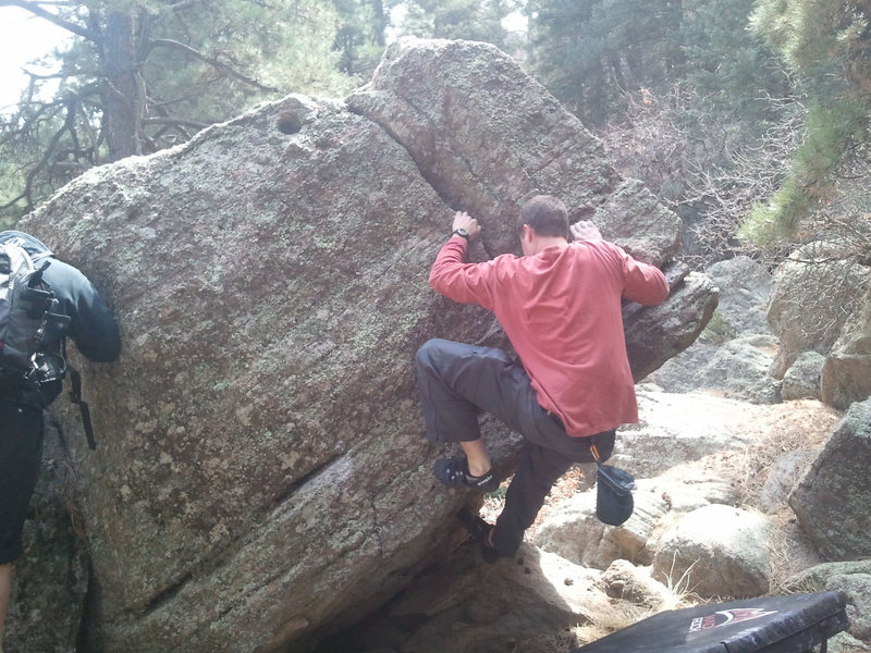 Finishing up this boulder after a big pump!