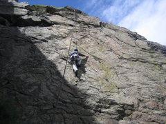 Rock Climbing Photo: Mark climbs into sunshine, upper half of BB Gun.