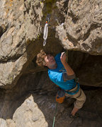 Rock Climbing Photo: Ryan Fiore clipping the crux draw on Road Rash Roo...
