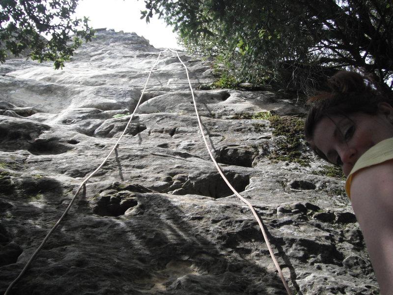 Kara prepares to climb