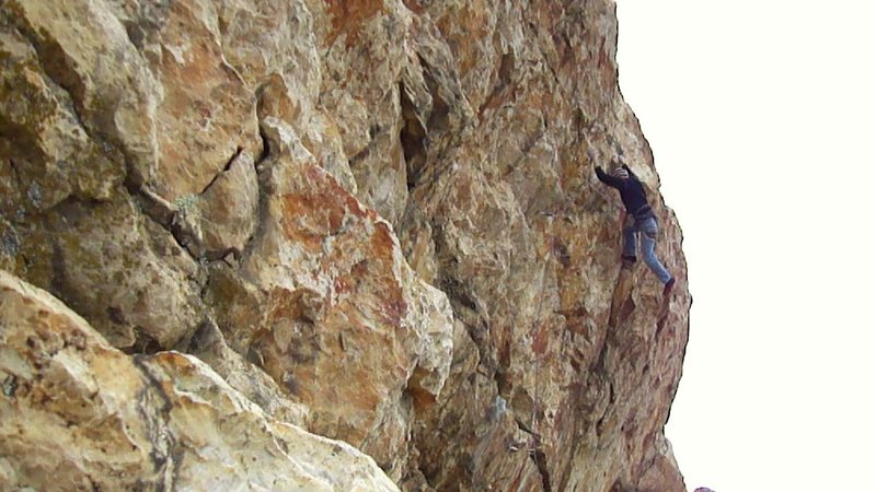 Rock Climbing Photo: Zschiesche sticking the dyno.