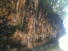 Main climbing wall at Padang-Padang Beach