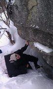 Rock Climbing Photo: Zac scoping 'er out.