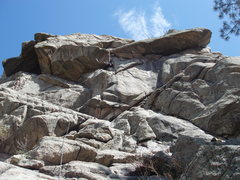 Rock Climbing Photo: Starting the hand crack (nice wide view of route).