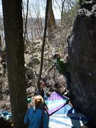 Rock Climbing Photo: Esser on opening moves.  April 2011.
