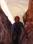 Rock Climbing Photo: Me topping out on Olive Oil.  photo by Matt Straus...