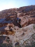 Rock Climbing Photo: John starting up pitch 1.