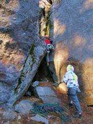 Rock Climbing Photo: Tim pulling into the corner.