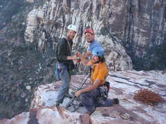 Rock Climbing Photo: Matt, Ross and I at the final belay ledge of Geron...
