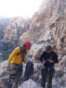 Rock Climbing Photo: Nick and Casey from Idaho, setting up for the last...