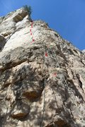 Rock Climbing Photo: Location of bolts on Lamont's Period.  You can see...