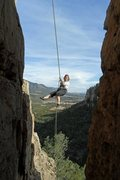 "Rock Climbing Photo: Brenda rappels ""First Blood""."