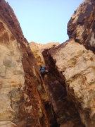 Rock Climbing Photo: Derek leading pitch 2.