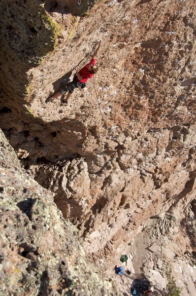 Hagen moving into the route's crux of steep and small but positive pockets.