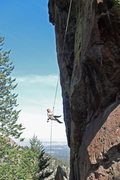 Rock Climbing Photo: Brenda raps the Matron at the Flatirons