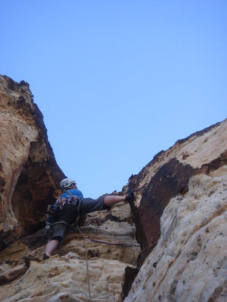 Derek leading the proud line finish to pitch 6.