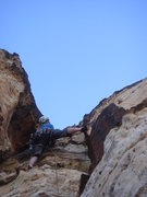 Rock Climbing Photo: Derek leading the proud line finish to pitch 6.