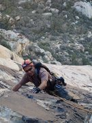 Rock Climbing Photo: Me on pitch 4 of Tunnel Vision.  photo by Derek We...