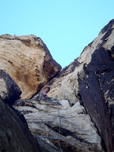 Rock Climbing Photo: Sitting atop the pitch 5 anchor ledge.  photo by D...