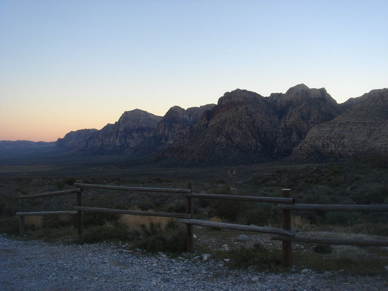Sunset over Red Rock NV from White Rock Spring.