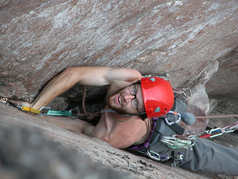 Mark Bratlie on &quot;Mack the Knife&quot; 5.10b at Palisade Head, MN.<br> Photo by: Matt Johnson